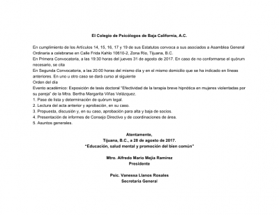 Convocatoria a Asamblea Ordinaria 8/2017