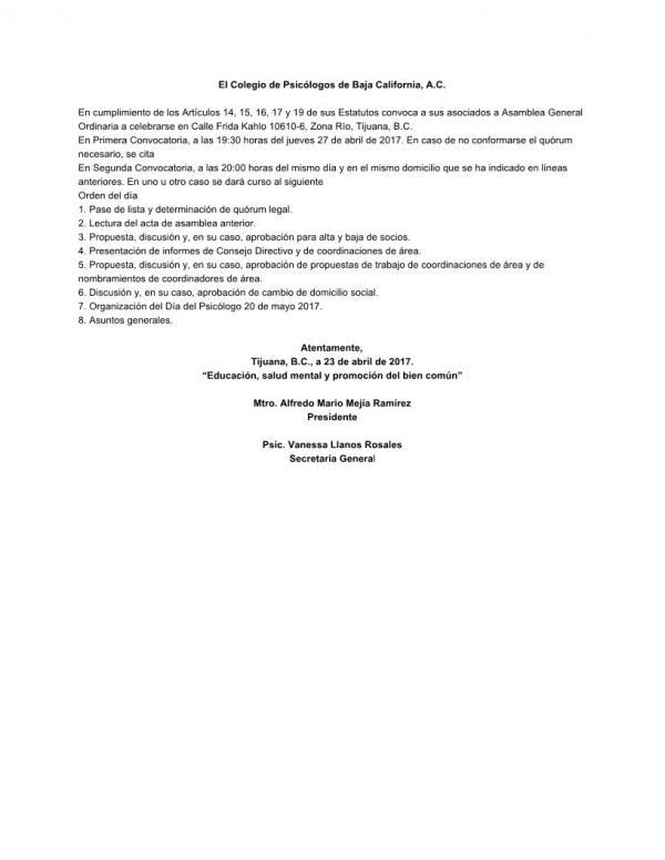 Convocatoria a Asamblea Ordinaria 4/2017