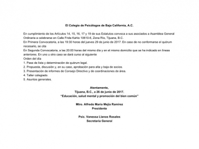 Convocatoria a Asamblea Ordinaria 6/2017