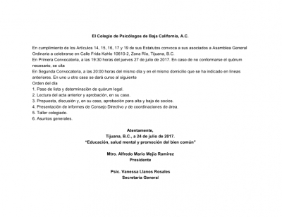 Convocatoria a Asamblea Ordinaria 7/2017