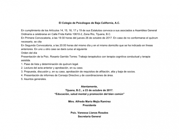 Convocatoria a Asamblea Ordinaria 10/2017