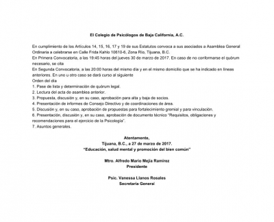 Convocatoria a Asamblea Ordinaria 3/2017