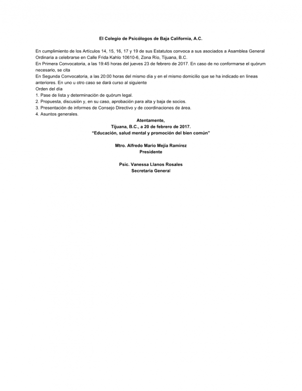 Convocatoria a Asamblea Ordinaria 2/2017